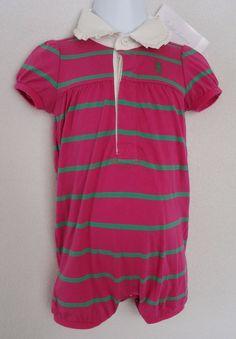 a4b3cab02a4f Details about Ralph Lauren Girls 9 Months Romper Shortall Bubblesuit Pink  Green Outfit NWT