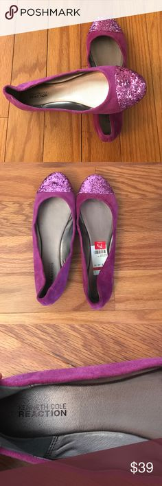 Kenneth Cole Reaction Purple Glitter Flats Check out this pair of suede flats with glitter cap toe for that extra bling! Never worn. No box. Still has tag. Size 7.5. Kenneth Cole Reaction Shoes Flats & Loafers