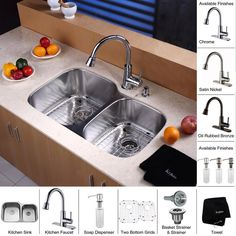 """View the Kraus KBU24-KPF2220-KSD30 Kitchen Combo - 32"""" Undermount 60/40 Double Bowl 16 Gauge Stainless Steel Kitchen Sink with Pullout Spray Kitchen Faucet and Soap Dispenser at Build.com."""