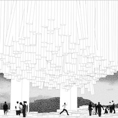 B&W Collage Rendering