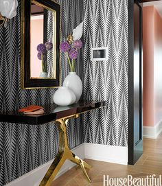 Jamie Drake on Creating the 2013 Designer Visions clarence house modern zebra paper Wallpaper Decor, Decor, Interior Design, Elegant Entryway, Foyer Decorating, Hudson Furniture, Home, Interior, Home Decor