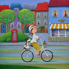 "Saatchi Art Artist Iwona Lifsches; Painting, ""Ulla and Her New Easter Bonnet"" #art"