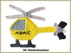 Häkelapplikationen - ADAC Hubschrauber, Helikopter - ein Designerstück von HC-Haekelzauber bei DaWanda