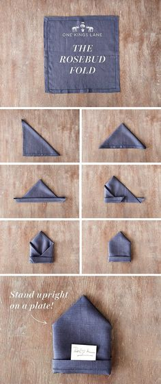 awesome Enchanting Napkin Folding Ideas for Your Most Adorable Table Ever - Servietten Dining Etiquette, Table Manners, Holiday Tables, Dinner Table, Rose Buds, Diy And Crafts, Table Settings, Table Decorations, Party