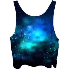 Deep Sea Space Crop Top Blue Green Ocean Galaxy Dark Bubble Stars... ($40) ❤ liked on Polyvore featuring tops, galaxy top, cropped tops, print top, galaxy print crop top and print crop tops