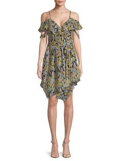 Floral-Print Ruffled Wrap Dress by KENDALL + KYLIE | yellow multi | Gilt