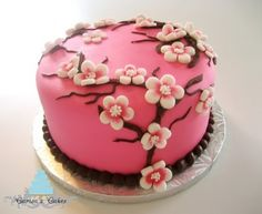Flower - 10 Amazing Baby Shower Cakes for Girls Pretty Cakes, Cute Cakes, Beautiful Cakes, Amazing Cakes, Bird Cakes, Cupcake Cakes, Cherry Blossom Cake, Cherry Blossoms, Pink Blossom