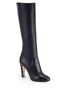 #JimmyChoo Mandel Leather Knee-High Boots worn with our mixed media pencil skirt and cropped bateau neckline blouse provides just the perfect amount of daring for the office.