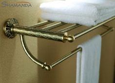 Real Free Shipping European Design Luxurious Solid Bronze Finished Double-deck Towel Rack,bathroom Accessories Bar-89011 #Affiliate