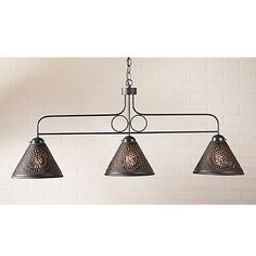 Country Large Franklin Hanging Kitchen Island Light - Kettle Black Tin Shades