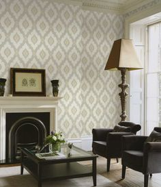 Arabic inspired dimensional damask for a feature wall in the living room at http://lelandswallpaper.com