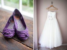 A bride in purple flats | Maureen & Jess' DIY Virginia winery wedding at Bull Run Winery | Images: Katie Nesbitt Photography