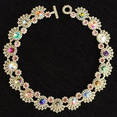 2015 is the anniversary for the Beadworkers Guild and they were running a crystal anniversary competition, sponsored by Swarovski (of course) to mark . Seed Bead Jewelry, Bead Jewellery, Beaded Jewelry, Beaded Bracelets, Swarovski, Beadwork Designs, Beads And Wire, Jewelry Patterns, Jewelry Crafts