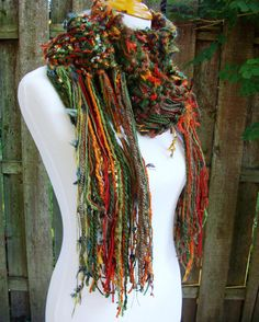 Hand Knit Chunky Scarf Shades of Nature Brown Green and by Fanchi, $30.00