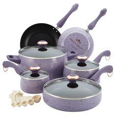 Paula Deen Signature Collection Porcelain Nonstick 15-piece Lavender Speckle Cookware Set