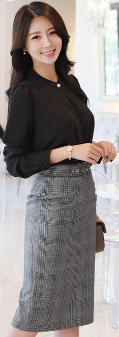 StyleOnme_Check Print Belted Pencil Skirt #gray #check #elegant #workwear #koreanfashion #kstyle #kfashion #skirt #autumnlook