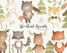 This Woodland Animals Watercolor Clipart Set includes hand painted watercolor elements ( all png, 300 dpi, transparent background) including: Accorns ( ~ 580 px); Clipart, Animals Watercolor, Watercolor Cards, Baby Shower Invitaciones, Design Typography, Wild Creatures, Woodland Animals, Farm Animals, Woodland Forest