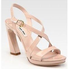 miu miu Patent Leather Slingback Sandals