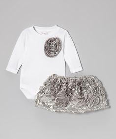 Look at this #zulilyfind! Gray-Silver Satin Bodysuit & Skirt - Infant by Caught Ya Lookin' #zulilyfinds
