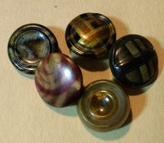 Vintage Celluloid Buttons - 5 Flat Top by BygoneButtonBoutique on Etsy
