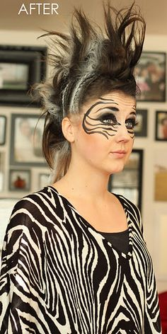 Zebra face paint for Sarah's Halloween! I will do it mother! Zebra face paint for Sarah's Ha Zebra Makeup, Animal Makeup, Holiday Hairstyles, Braided Hairstyles, Zebra Face Paint, Coloured Hair Spray, Lion King Costume, Mane Hair, Animal Halloween Costumes