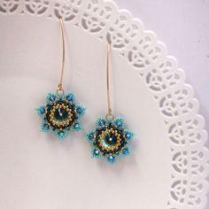 dangle turquoise statement earrings, Long turquoise earrings, Swarovski flower. fashion earrings. evening jewelry, special occasion jewelry