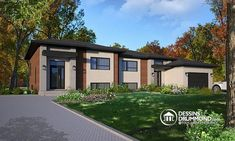 Multi-Family Plan 76477 - Contemporary, Modern Style Multi-Family Plan with 3568 Sq Ft, 6 Bed, 4 Bath, 1 Car Garage Family House Plans, New House Plans, Modern House Plans, Modern House Design, Contemporary Style Homes, Contemporary House Plans, Zen, Duplex House Plans, Hip Roof