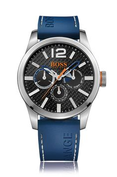 Brushed stainless-steel multi-eye watch with textured dial and blue silicone strap