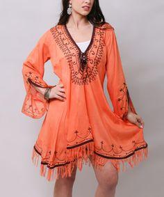 Loving this Orange Lace-Up Handkerchief Dress on #zulily! #zulilyfinds