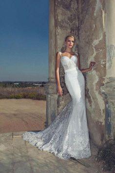 Lace Corset Wedding Dress,Mermaid Wedding Dress,Trumpet Wedding Dress,Lace Bridal Dress via Etsy