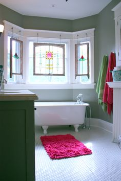 Vintage Style Tub Foot Bath And Stained Glass Panels That Were Custom Made  For My Client · Teenage BathroomRestroom IdeasBathroom ... Part 62