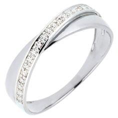 Alliance Saturne Duo - diamants - or blanc - 18 carats