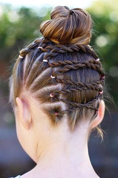 Upside Down Braid Into A Messy Bun ❤️ We all know that over time, your kiddo gets bored with those ponytails and braids she wears every day. Let us respect her sense of fashion and vary her styling routine. See our picture gallery. ❤️ See more: http://lovehairstyles.com/cute-girls-hairstyles/ #lovehairstyles #hair #hairstyles #haircuts  #braids #braidedhairstyles