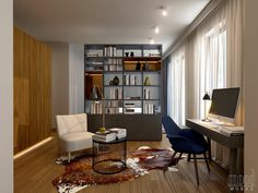 Contemporary living space in Warsaw Mood Words, Corner Desk, Living Spaces, Conference Room, Contemporary, Warsaw, Studio, Interior, Table