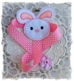 Embroidered Felt Bunny Bow Holder by Lillianas on Etsy, $6.50