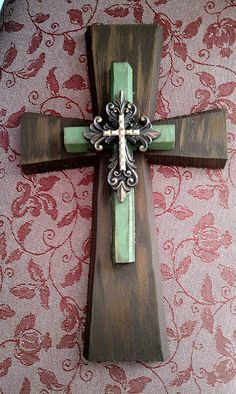 Brown green & gold Wooden Wall Cross by bstreetboutique on Etsy by polly Mosaic Crosses, Wooden Crosses, Crosses Decor, Wall Crosses, Decorative Crosses, Cross Wall Decor, Old Rugged Cross, Cross Heart, Cross Crafts
