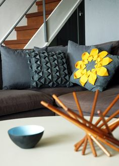 Recycled Felt Pillow  Origami Sunflower Applique by FeltloveCymru, $49.00  - I am amazed by what you can make out of recycled plastic.  These are gorgeous!