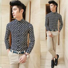 Promotion Spring 2014 Long-sleeve Fancy Print Men Casual Shirts Slim Asian Men Clothing $25.88