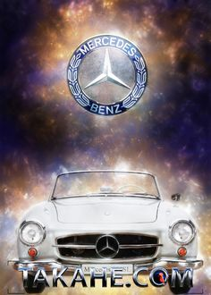 A creme colored 1955 Mercedes Benz 190SL - as a convertible - is starting this collection of beautiful Mercedes cars. As of today available as print (without copyright trademark) on a steel plate Disponibile oggi come una stampa (senza marchio) su una piastra di acciaio Seit heute erhältlich als Druck auf Stahlplatte (ohne Takahe copyright)