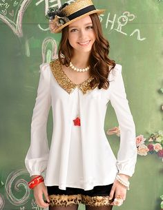 $7.01 Charming New Sequins Doll Collar Long Sleeve Blouse