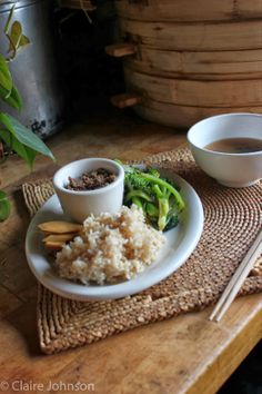 Brown Rice, Sauteed Broccoli, Lentils, Pickles, Miso soup