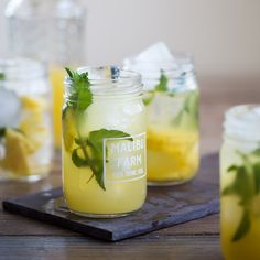 Pineapple sake sangria with jalapeno - water, sugar, jalapeno, pineapple juice, sake, pineapple slices, mint