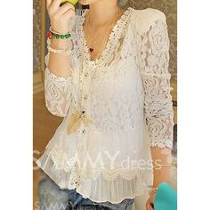 $9.83 Elegant V-Neck Openwork Long Sleeves Flouce Lace Blouse For Women