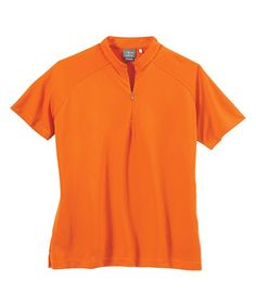 Orange Crush Dot Textured Polo - Women