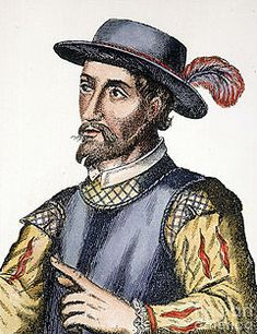 Juan Ponce de León (1474 - 1521) a Spanish explorer and conquistador. He became the first Governor of Puerto Rico by appointment of the Spanish crown. He led the first known European expedition to La Florida, which he named, and is associated with the legend of the Fountain of Youth, supposed to be in Florida. / Conqueror of Puerto Rico and Cuba.