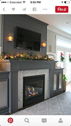 Love this except for the TV.  TVs do not belong above fireplaces.