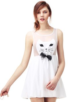 White Sleeveless Cat Face Print Bow Dress US$49.99