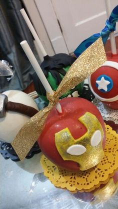 """""""Avengers """" Chocolate covered apples Chocolate Covered Apples, Chocolate Covered Strawberries, Caramel Apples, Oreos, Fall Bake Sale, Carmel Candy, Gourmet Candy Apples, Apple Pop, Candy Buffet"""