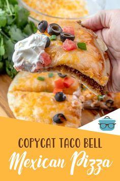 Taco Bell Mexican Pizza, Taco Pizza, Pizza Recipes, Beef Recipes, Cooking Recipes, Copycat Recipes, Turkey Recipes, Mexican Dishes, Mexican Food Recipes