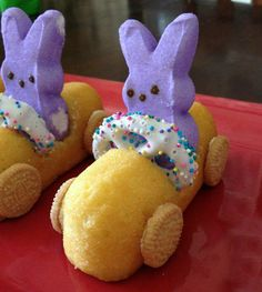Peep bunnies in Twinkie cars!